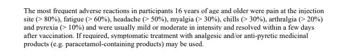 Las reacciones adversas más frecuentes en los participantes de 16 años o más fueron: 🔹Dolor en el sitio de inyección (> 80%) 🔹Fatiga (> 60%) 🔹Dolor de cabeza (> 50%) 🔹Mialgia (dolor muscular) (> 30%) 🔹Escalofríos (> 30%) 🔹Artralgia (dolor artículaciones) (> 20%) https://t.co/BrBZu7CyKW