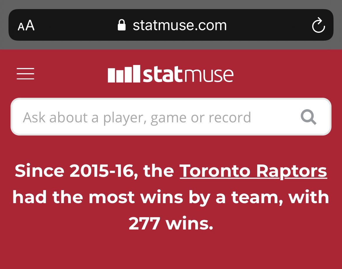 Fans across the #NBA can say all they want about the #Raptors, or argue their team is better. They can underrate them, or try to stupidly argue Lowry isn't amazing. But we've got a championship and no team has been better in the regular season over the last 5 years. #WeTheNorth https://t.co/ocrmv07wfX