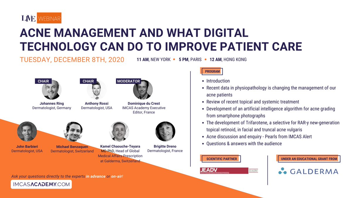 "- NEXT LIVE WEBINAR - December 8 at 5PM (Paris time)  Mark your calendars for the next live webinar! Join us for a profound live session on ""Acne management and what digital technology can do to improve patient care"". Register & watch for free 👉 https://t.co/1T8xFEaVRs https://t.co/HVTKvyXoD3"