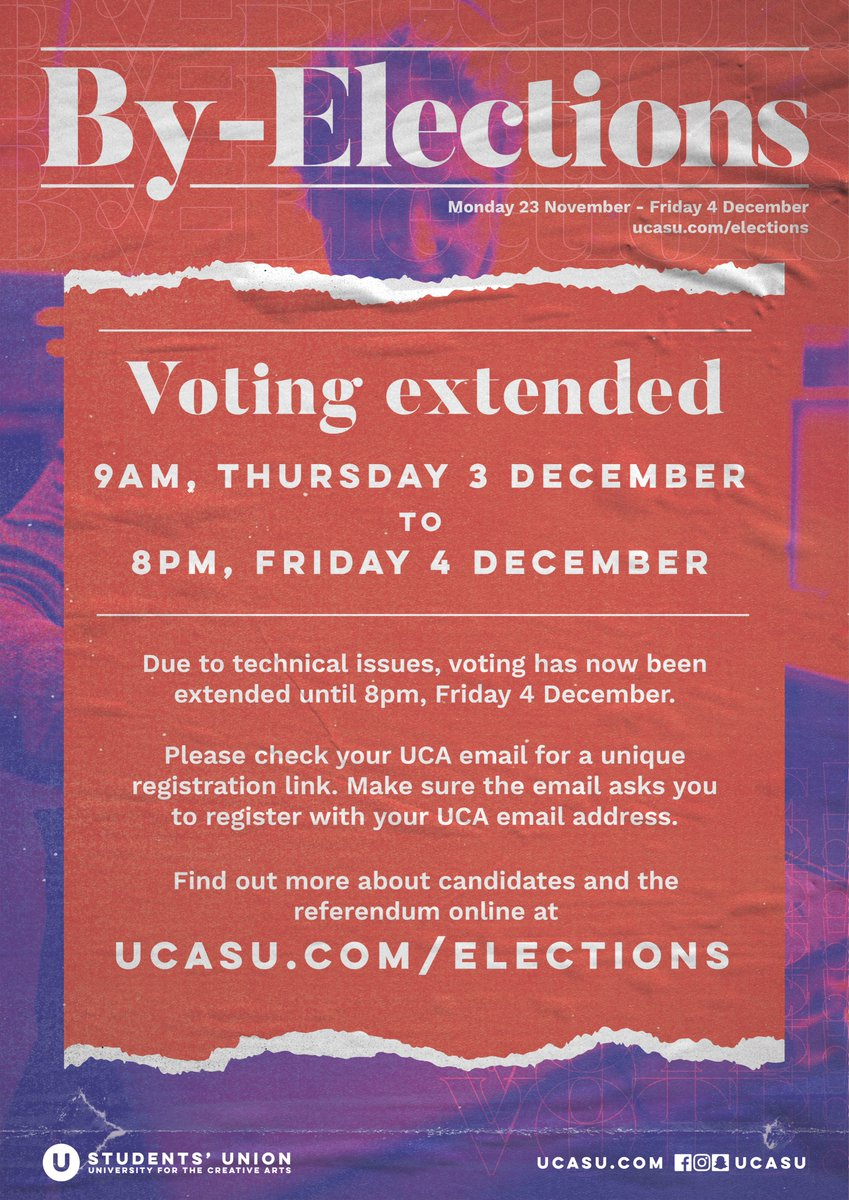 test Twitter Media - VOTING EXTENDED  Due to technical issues, voting has now been extended until 8pm, Friday 4 December.  Please check your UCA email for a unique registration link. Make sure the email asks you to register with your UCA email address. https://t.co/06NrtmKvWT