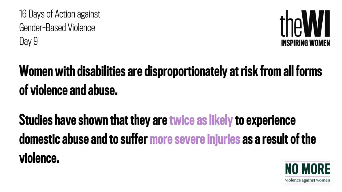 Women with disabilities are disproportionately at risk from all forms of violence and abuse. Studies have shown that they are twice as likely to experience domestic abuse and to suffer more severe injuries as a result of the violence. 1/2 #16Days
