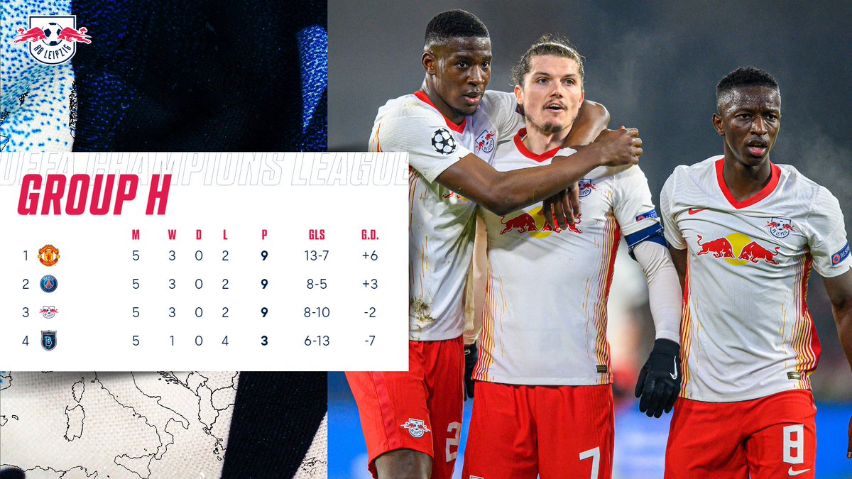 Three teams sit on 9️⃣ points in our #UCL Group ⚖️  #RBLeipzig have secured at least third place, but next week we will take on @ManUtd for a place in the @ChampionsLeague knockouts! ⚔️  🔴⚪ #AintStoppingNow #RBLMUN
