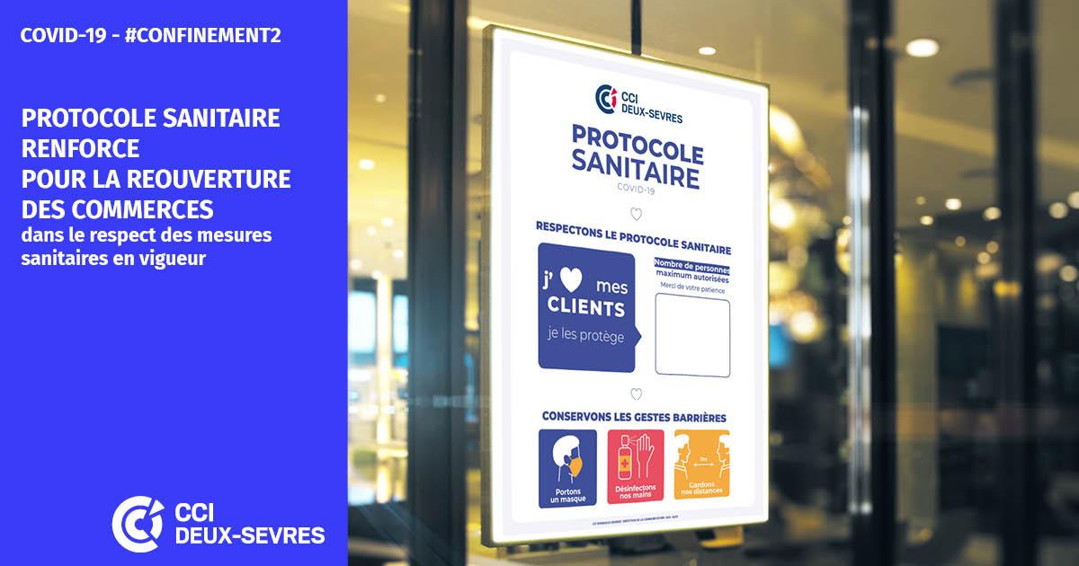 ⭕Réouverture des #commerces : nouveau protocole sanitaire, avec obligations et recommandations ici ➡ https://t.co/uLftxKQ0nv 👉et téléchargez l'affiche vitrine mise à votre disposition par  @CCIDeuxSevres  ➡ https://t.co/VMNb9NGu4u #ProtocoleSanitaire @ccifrance @Economie_Gouv https://t.co/8jRYnBD6Va
