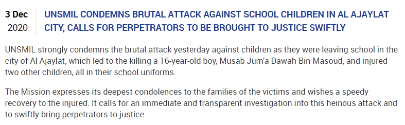 Even going to school is no longer a safe act in Libya😢😢  UNSMIL condemns brutal attack against school children, calls for perpetrators to be brought to justice: