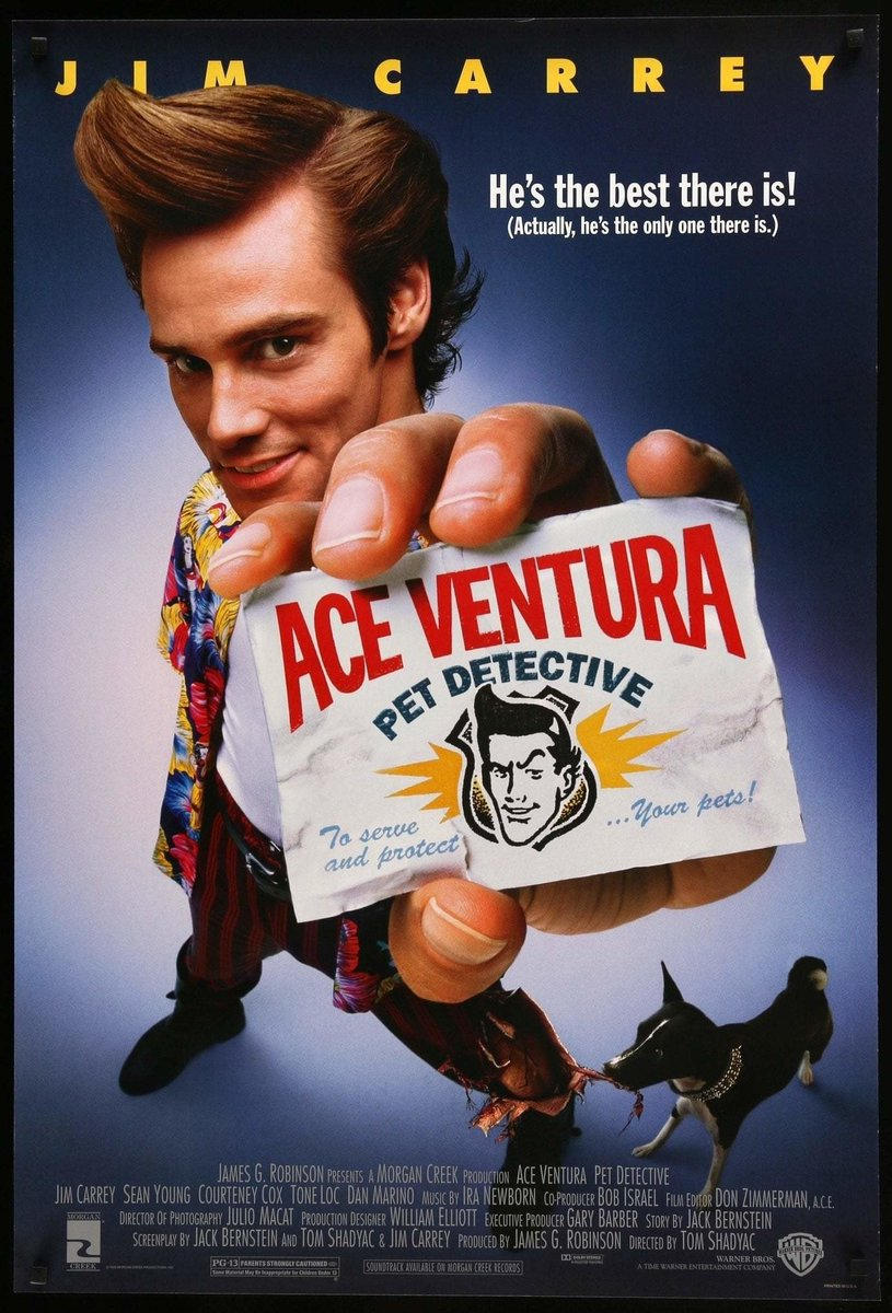 Ace Ventura, un detective diferente (1994)  Director: Tom Shadyac  Reparto: Jim Carrey, Sean Young, Courteney Cox, Tone Loc, Dan Marino, Noble Willingham, Troy Evans, Udo Kier, Raynor Scheine, Frank Adonis, Tiny Ron, David Margulies, John Capodice, Judy Clayton, Alice Drummond https://t.co/HR8QjmuKzA