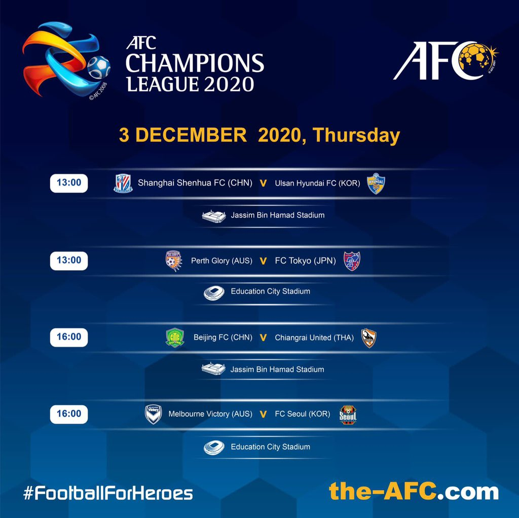 ⚽️ #ACL2020 East   Today's Matches  #FootballForHeroes