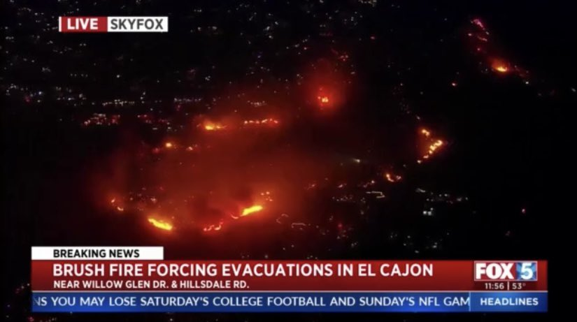 Incredible shot from SkyFox showing size of #WillowFire in #ElCajon @fox5sandiego