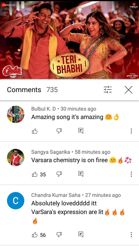 #TeriBhabhi song beautiful comment 😍😍👌👌 @Varun_dvn #SaraAliKhan #CoolieNo1 frist song out new #CoolieNo1OnPrime #excitedforcoolieno1 super hit 🎉👌