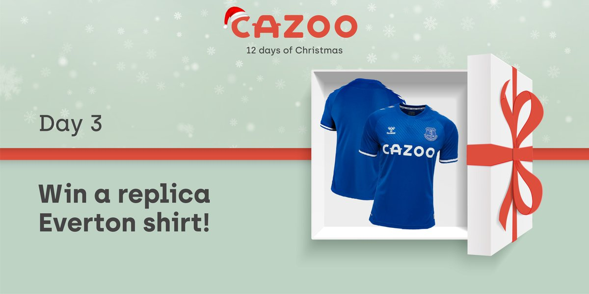 🎊 On the 3rd day of Christmas, Cazoo gave to me… 🎊  Another chance to win a replica @Everton shirt!  To enter:  RETWEET this post FOLLOW @CazooUK   Competition closes at 9am on 04.12.20! T&Cs Apply.  #Cazoomas #EFC