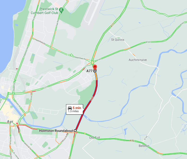 test Twitter Media - UPDATE❗️⌚️08:55  #A77 Whitletts Roundabout in Ayr  RTC in lane 2 of 2 northbound approaching the roundabout.  Traffic heavy on approach - queuing back to the Holmston Roundabout. Delays approx 5 mins.  @SWTrunkRoads @southayrshire https://t.co/wmcy06hPQx