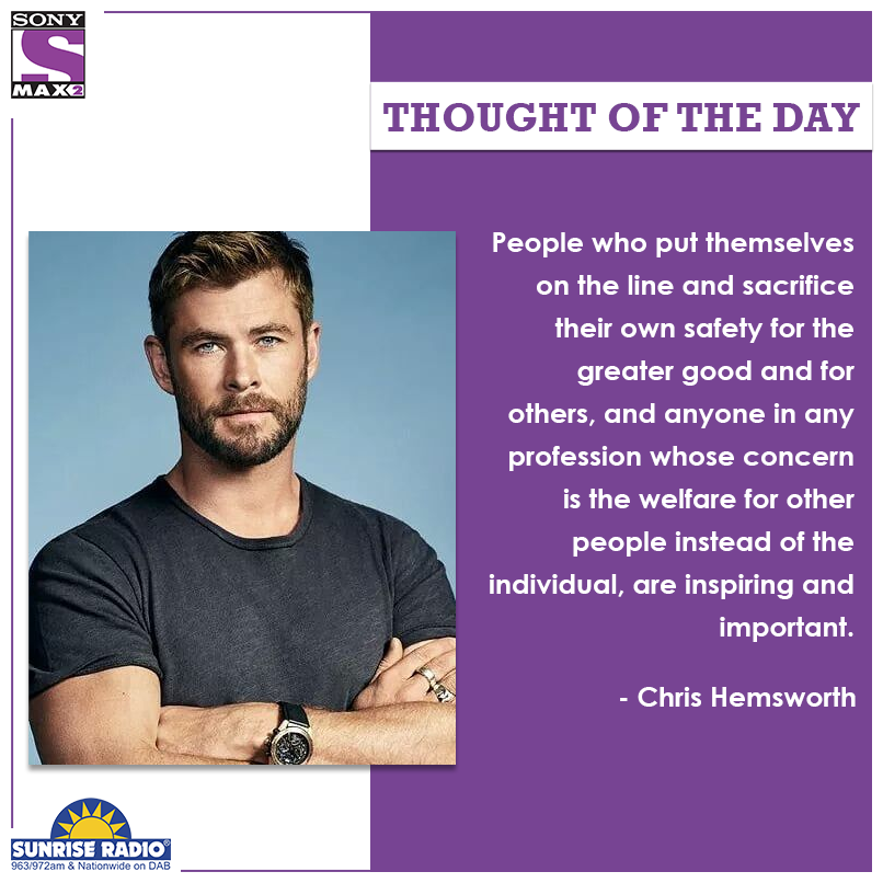#ChrisHemsworth talks about what inspires him. ​  #ThoughtOfTheday #quote #MAX2UK #ClassicBollywoodMovies  #SundayMotivation #motivation #risk #SundayThoughts ​  @ThisIsSunrise
