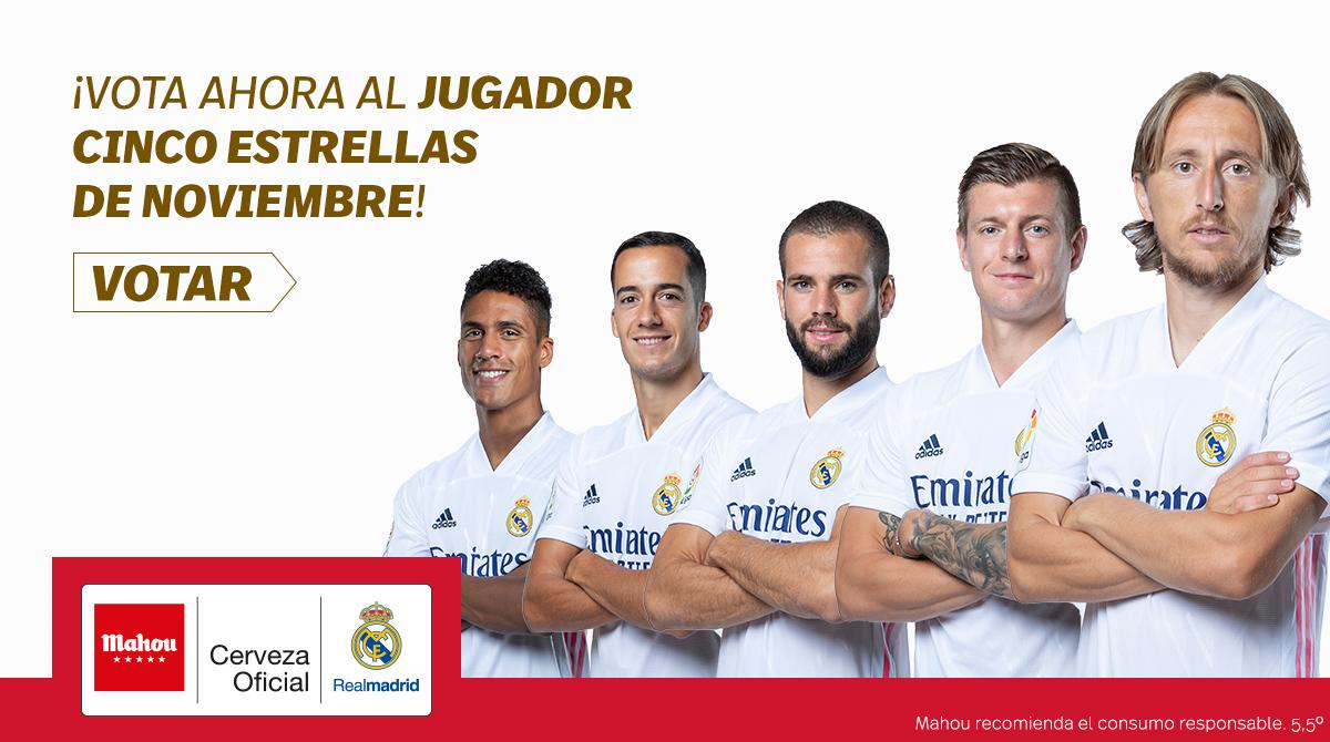 ¡Madridista! Vuelve #JugadorCincoEstrellas del @realmadrid. Recuerda que puedes votar haciendo RT o Me Gusta en tu favorito o en la APP de Real Madrid. ¡Abrimos hilo con los candidatos del mes de noviembre! (1/6)