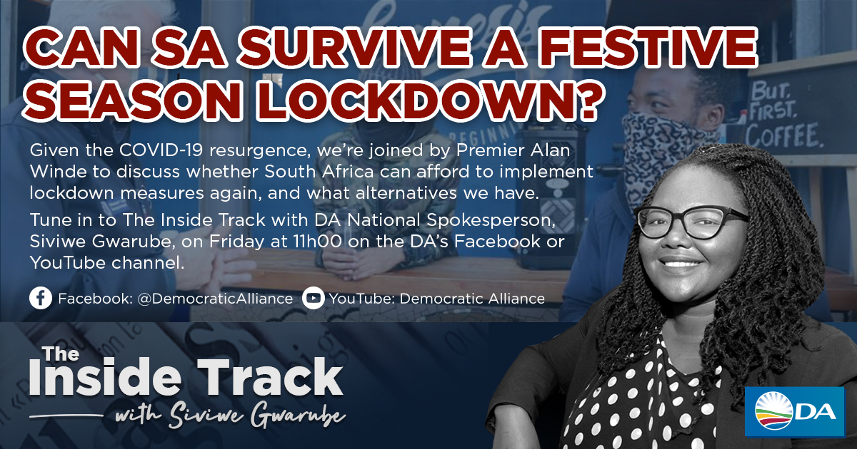 🔐| Can SA survive a festive season lockdown?   Tomorrow at 11am, DA National Spokesperson @Siviwe_G will host a live broadcast with WC Premier @alanwinde to discuss whether SA can afford lockdown, and what alternatives we have.  📲 live on the DA's Facebook and YouTube channel. https://t.co/jztZ3HP3s9