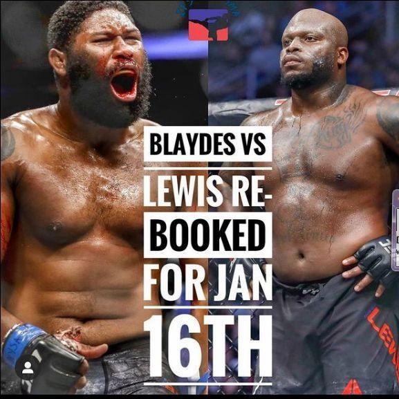 OHHHH HELL YEAH !!!!!!  JANUARY 16TH THE BLACK BEAST AND RAZOR WILL THROWDOWN !!!!!  THATS RIGHT FOLKS CURTIS BLAYDES AND DERRICK LEWIS WILL THROWDOWN ; JAN 16TH LETS FUCKING DO IT 🔥🔥🔥  @thebeastufc @razorblaydes265  #UFC #UFCOnESPN #ESPNMMA #BlackBeast #Razor #MMA https://t.co/YDRXftADik