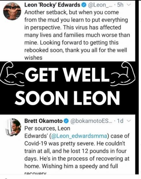 Damn Folks, Leon got hit hard by Covid . Get well soon bro and come 2021 the mission restarts .  @leon_edwardsmma  #UFC #UFCOnESPN #ESPNMMA #ESPN #UFCESPN #UFCFightNight #EdwardsVsChimaev #LeonEdwards #Covid19 #getwellsoon #MMA #MMAReloaded https://t.co/tRiD1la1n1