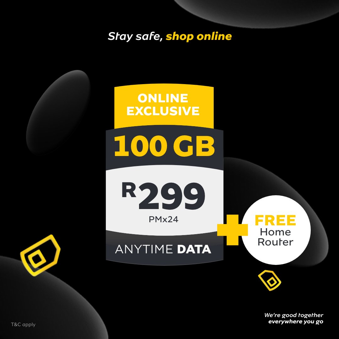 The #BlackFriday2020 deals just keep shining☀.️ #Remake2020 with personalised deals like 100GB* Anytime Data plus a FREE router, for only R299 PMx24. Get fantastic savings and boost your YelloBucks. Visit: https://t.co/QkYc1MZaPU. T&C apply https://t.co/uA6fbueZhU