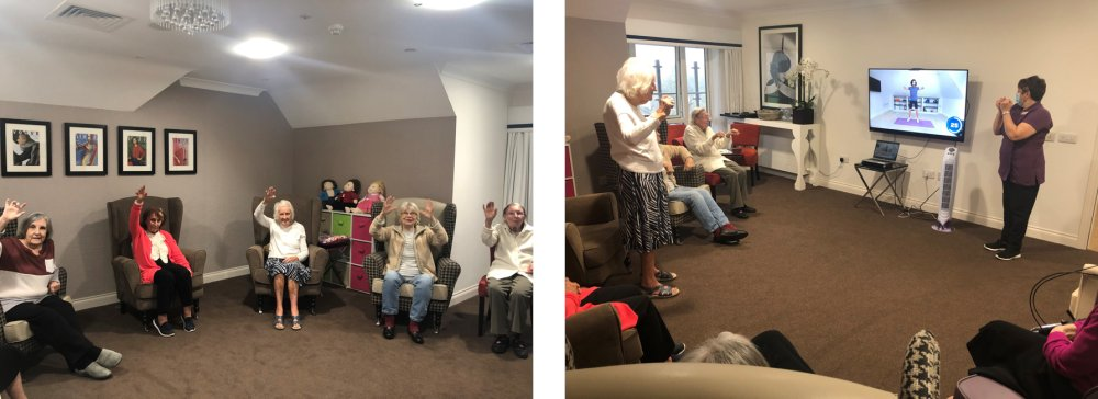 @thebodycoach made an exercise video catered towards seniors. Residents at #GracewellofBookham couldn't wait to exercise along to the video to keep fit and healthy! 👏 For more info →