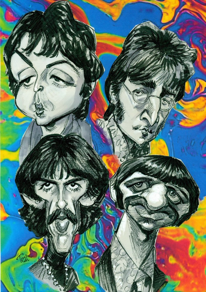Im STILL trying to figure out how best to turn my Beatles studies into a painting. Its a long and winding road... #caricature