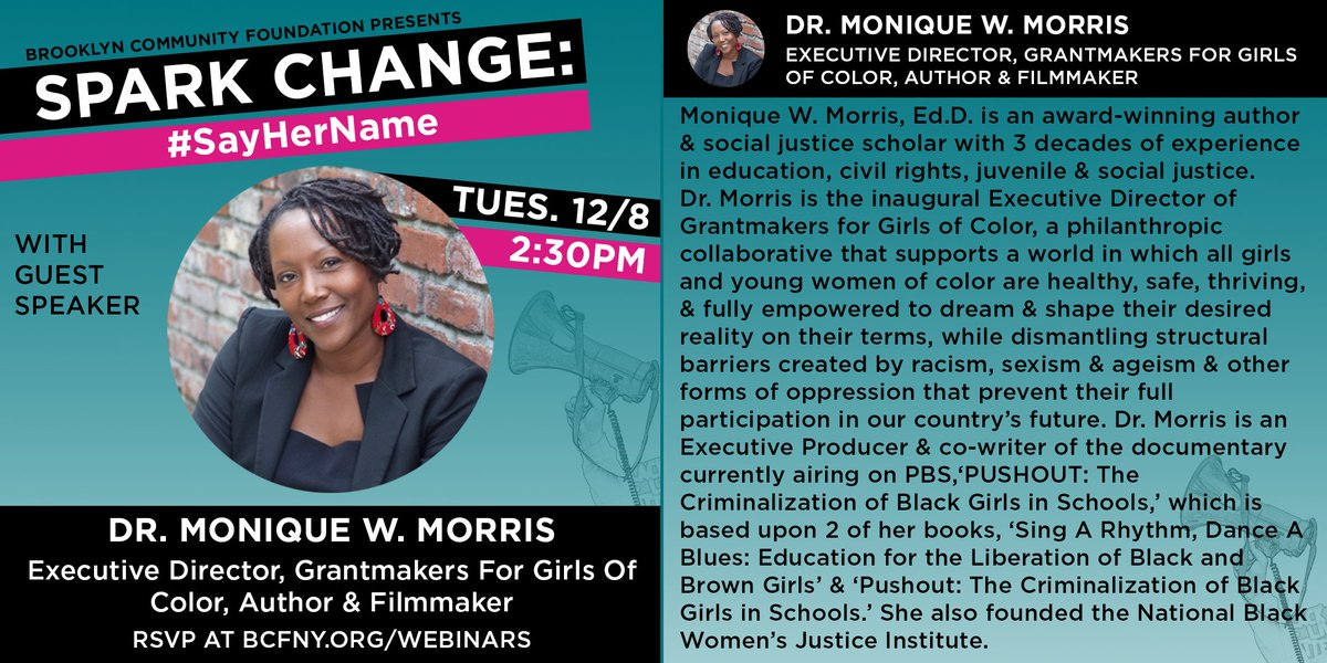 Meet our Guest Speaker: @MoniqueWMorris, Executive Director of @G4GC_org! Join us TUES 12/08 @ 2:30PM for Spark Change: #SayHerName - a talk on the ongoing fight to achieve #GenderJustice #equity & liberation for Black women  RSVP:
