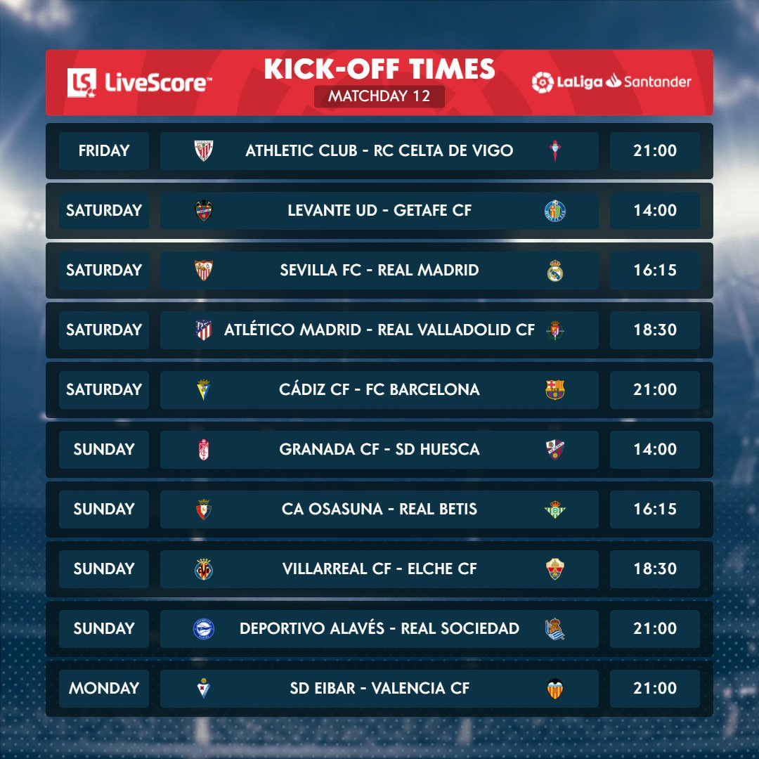 Matchday 1⃣2⃣ is here! 🍿  Which game are you looking forward to the most? 🤔  #LaLigaSantander | #YouHaveToLiveIt