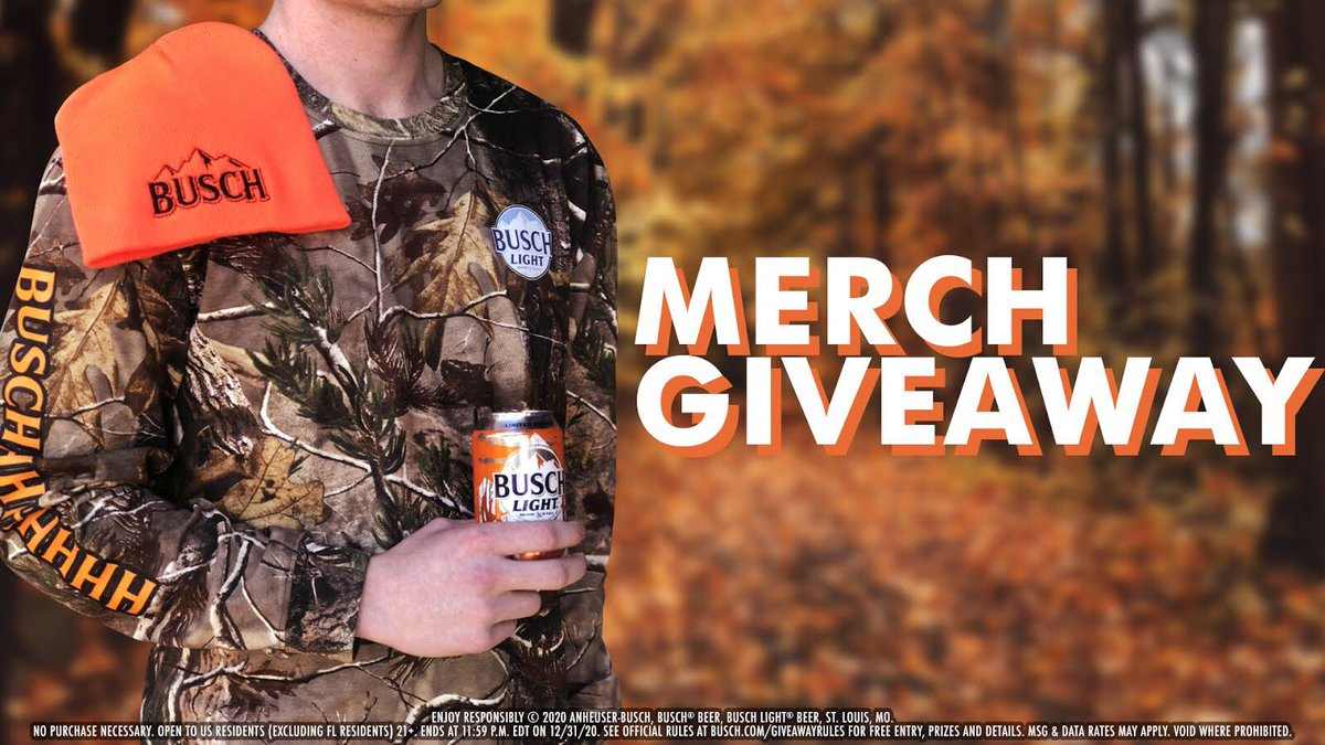 🚨BUSCH HUNTING MERCH GIVEAWAY🚨  For your chance to win, follow us and retweet with #Sweepstakes. Tag someone (21+) who would bring home some trophy beers in this gear.