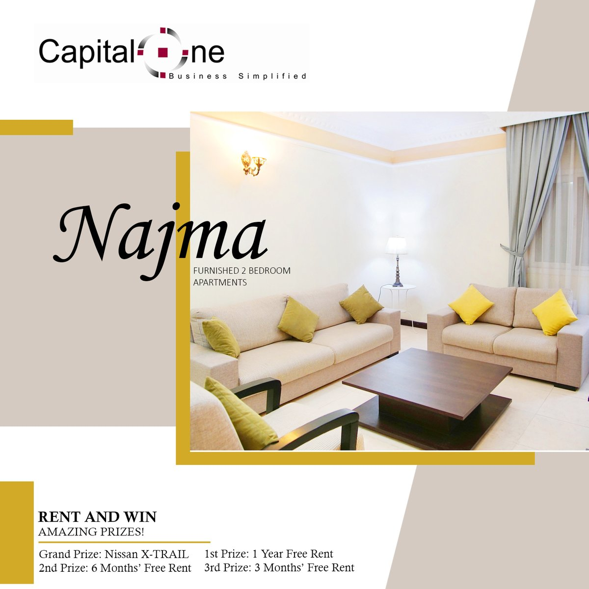 Ample Space and a very homey 2BHK Fully Furnished Apartment located in Najma area.  Sales Executive: Mr. Sunil - (+974) 50899555 Mr. Nidhin - (+974) 50699444 Mr. Amine - (+974) 50899444 Mr. Azif - (+974) 50899333 Mr. Shaheen - (+974) 50699333  #doha #Qatar #Qatar2022