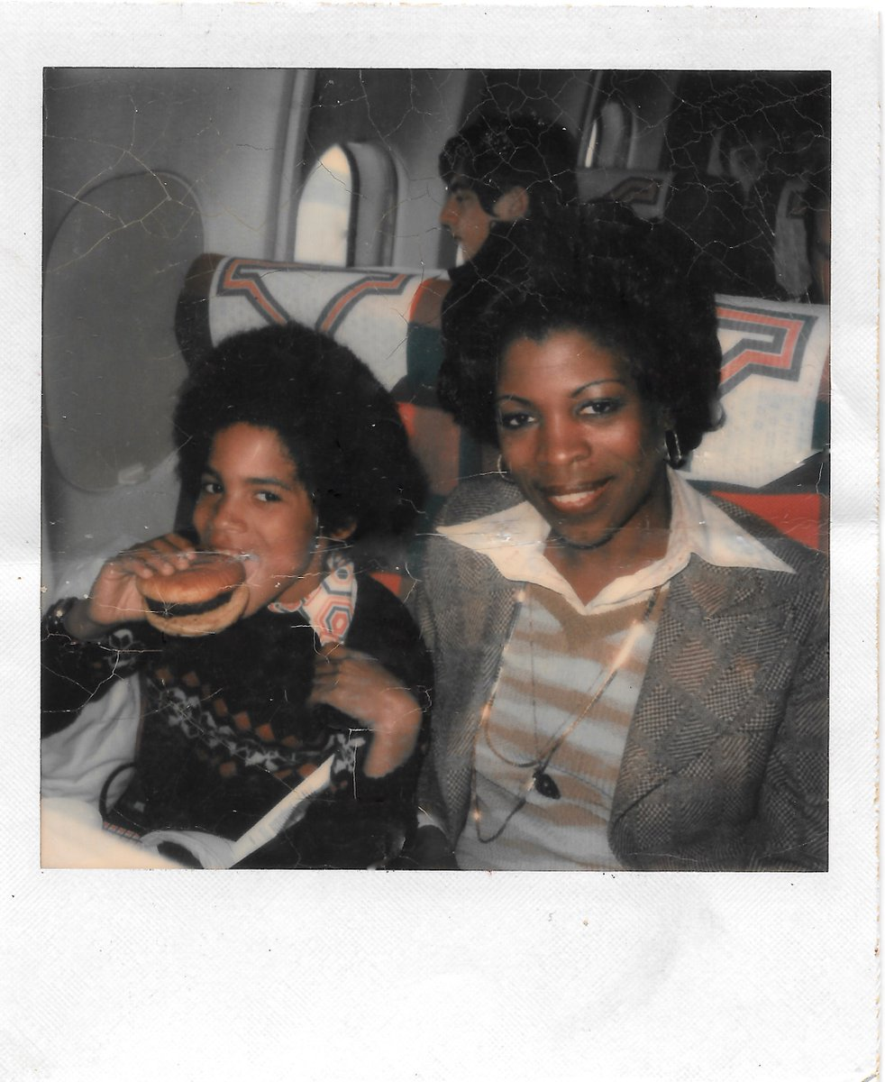 On the flight to Los Angeles with my Mom for the taping of the first season of The Jefferson's. #tbt