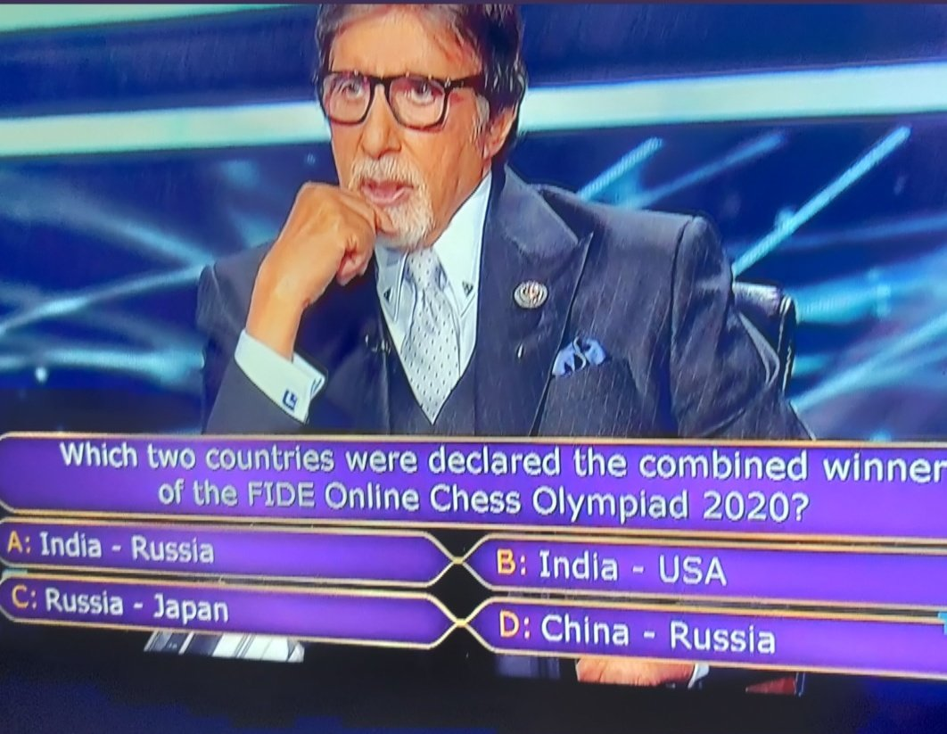 Replying to @viditchess: Nice to see KBC featuring a question about the Chess Olympiad 2020!!