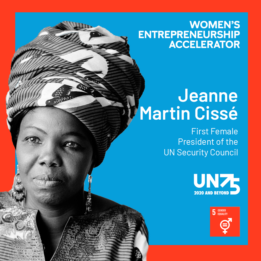 We Celebrate: Jeanne Martin Cissé of Guinea who in 1972 became the first woman to serve as President of the @UN Security Council. She championed women's rights, decolonization, racial justice, and the end of apartheid in South Africa. #wea #un75 #weaccelerate #generationequality
