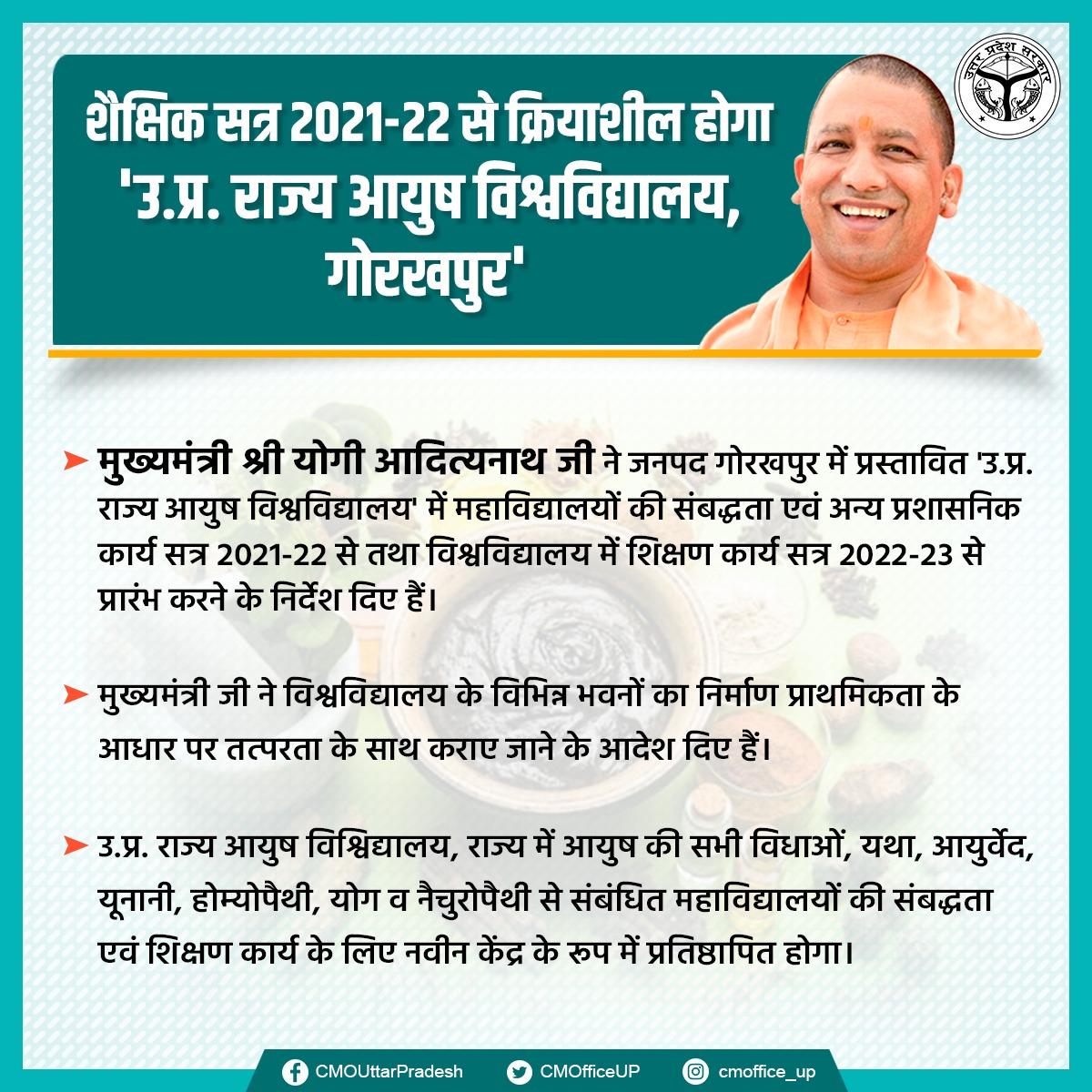 मुख्यमंत्री श्री @myogiadityanath जी ने जनपद गोरखपुर में प्रस्तावित 'उ.प्र. राज्य आयुष विश्वविद्यालय' में महाविद्यालयों की संबद्धता एवं अन्य प्रशासनिक कार्य सत्र 2021-22 से तथा विश्वविद्यालय में शिक्षण कार्य सत्र 2022-23 से प्रारंभ करने के निर्देश दिए हैं। @spgoyal @sanjaychapps1
