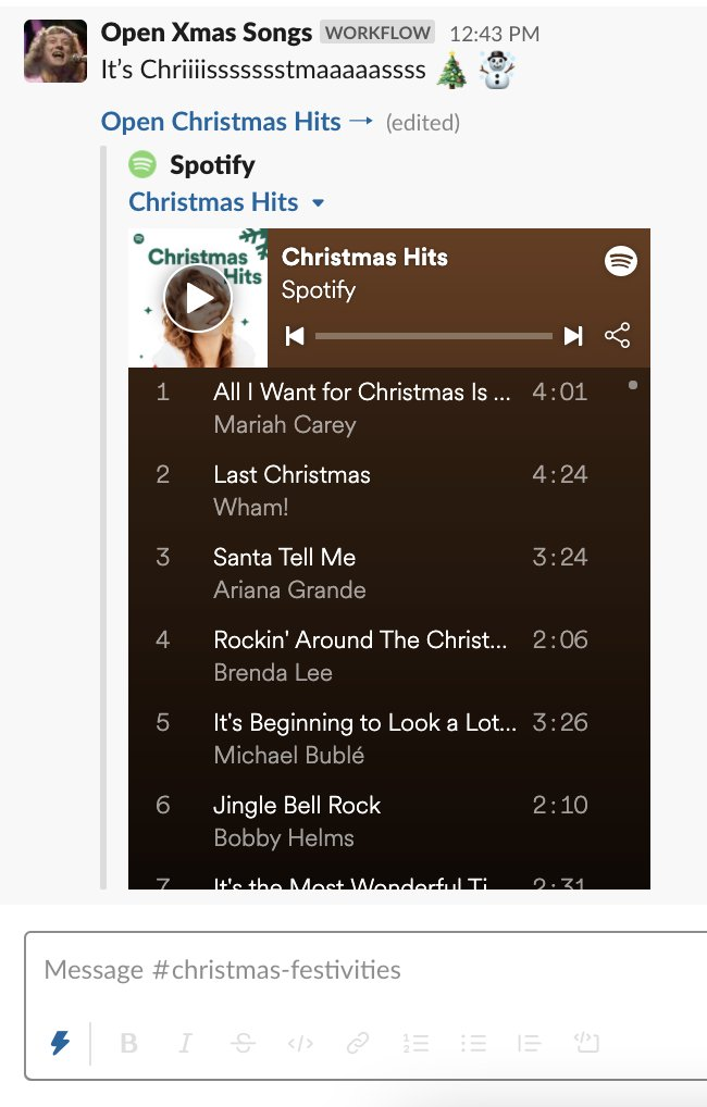 Just built: Xmas Playlist in @SlackHQ Workflow Builder.  Click a workflow to open a message and link to Spotify Christmas playlist 🎄☃️  (Need to be careful if you're playing WHAMAGEDON)