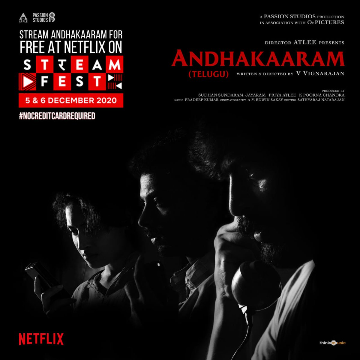 watch #Andhakaaram on Netflix for free during this weekend.On December 5 & 6,  @Atlee_dir @aforapple_offcl @PassionStudios_  @priyaatlee @Sudhans2017 @vvignarajan @iam_arjundas  #PradeepKumar @Jayaram_gj @vinoth_kishan @Poojaram22 @MishMash2611 @edwinsakaydop @thinkmusicindia