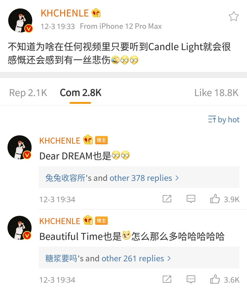 201203 #CHENLE weibo https://t.co/DUkVycGbZK  - I don't know why but in any video, as long as I hear Candle Light I get very emotional & even feel some sadness - Dear DREAM too - Beautiful Time too. Why are there so many hahahahaha  #NCTDREAM @NCTsmtown_DREAM https://t.co/qFt72rHzaI