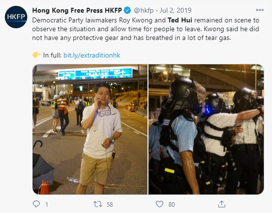 Countless shots of Hui on the frontlines last year trying to keep things calm... And a clip of Hui being escorted out of the legislature amid protests over the looming security law: twitter.com/hkfp/status/12… Ted will now move on to the UK, @HKDemocrats said.