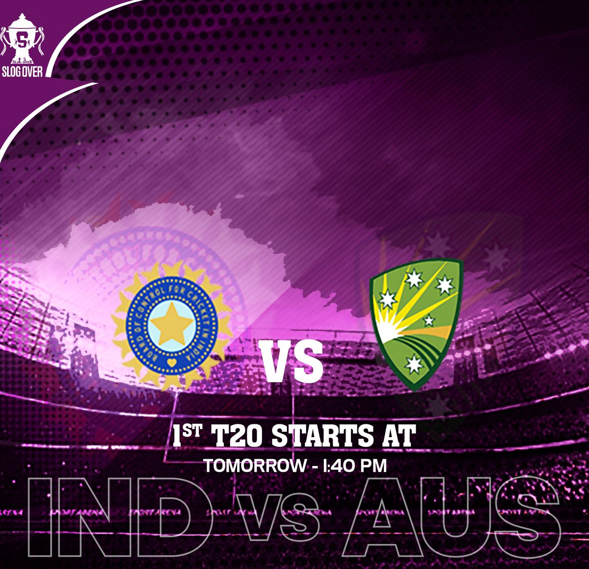 Countdown begins for tomorrow's T20 match between India and Australia...so guys, look through the timing...Hope, it will charm all cricketfans! Be with @slogover24  #cricket #cricketlovers #cricketindia #indiancricket #T20 #T20Cricket #IndiaVsAus #AUSvsIND