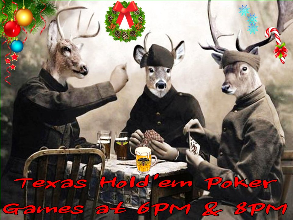 OPEN at 3PM! 🍺  Texas Hold'em Poker!  ♥️♣️♦️♠️  21 VU 🍺 on TAP!  We got EATS - yum!  🍴  Mug 🍺 CLUB!    #beeroclock #CraftBeer #cardgames #thursdayvibes #thursdaymood #ThursdayMotivation #ThirstyThursday #ThursdayThoughts #beer #deer