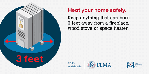 #ThursdayThoughts: Keep anything that can burn at least 3 feet from any heat source such as fireplaces, wood stoves, radiators or space heaters. More #FireSafety tips at: