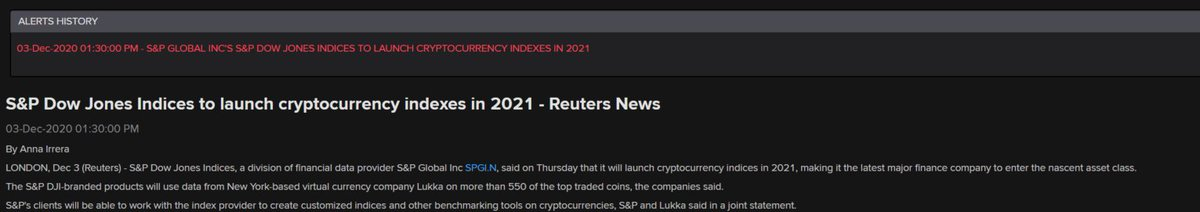 S&P DJI cryptocurrency indexes coming in 2021  📈💹📉  This makes S&P Global the latest major finance company to enter the nascent asset class.  More reliable pricing data could help make crypto more mainstream.  Link soon 👇 https://t.co/3ukzBcj5iW