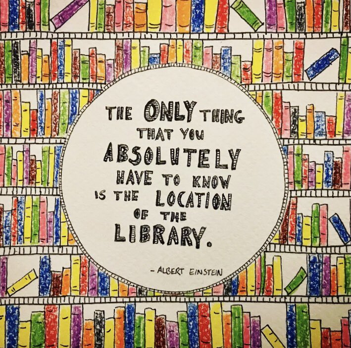 "😃#ThursdayThoughts 📚📖🎉 ""The only thing you absolutely have to know is the location of the library "" - Albert Einstein   #dlrLibraries #doodle #alberteinstein #alberteinsteinquote"