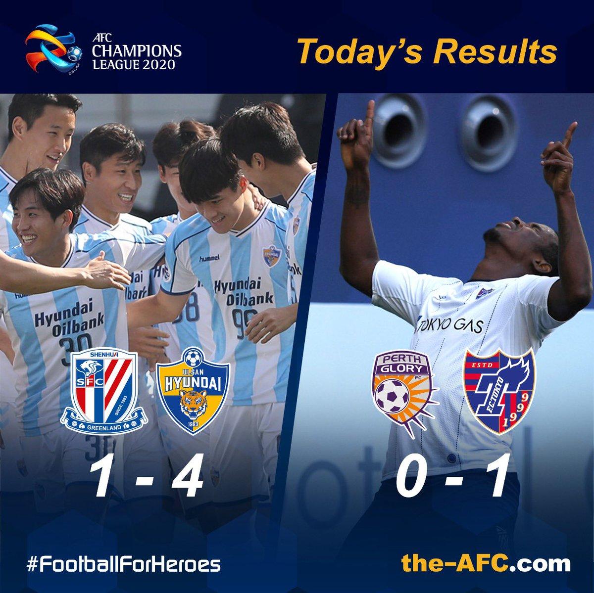 ⚽️ #ACL2020 East   Today's Results  🇨🇳 Shanghai Shenhua 1-4 Ulsan Hyundai 🇰🇷   🇦🇺 Perth Glory 0-1 FC Tokyo 🇯🇵   #FootballForHeroes