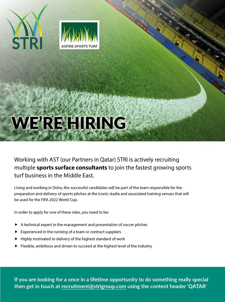 We are recruiting experienced #sportssurfaceconsultants from across the globe, to relocate to Qatar and work with our partners @aspire_turf to deliver sports pitches that will be used for the #FIFA2022WorldCup #sportsturf #Recruiting #opportunity #hiring