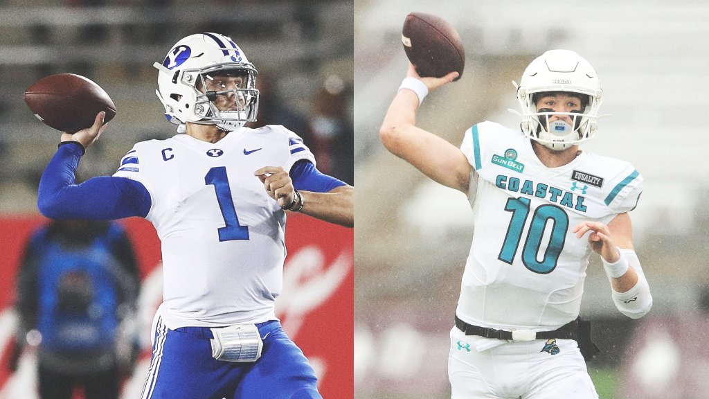 An agreement has been reached for No. 13 BYU to replace Liberty as No. 18 Coastal Carolina's opponent Saturday after COVID-19 issues prevented the Flames from playing, sources told @ClowESPN.   A battle between two 9-0 teams 👀