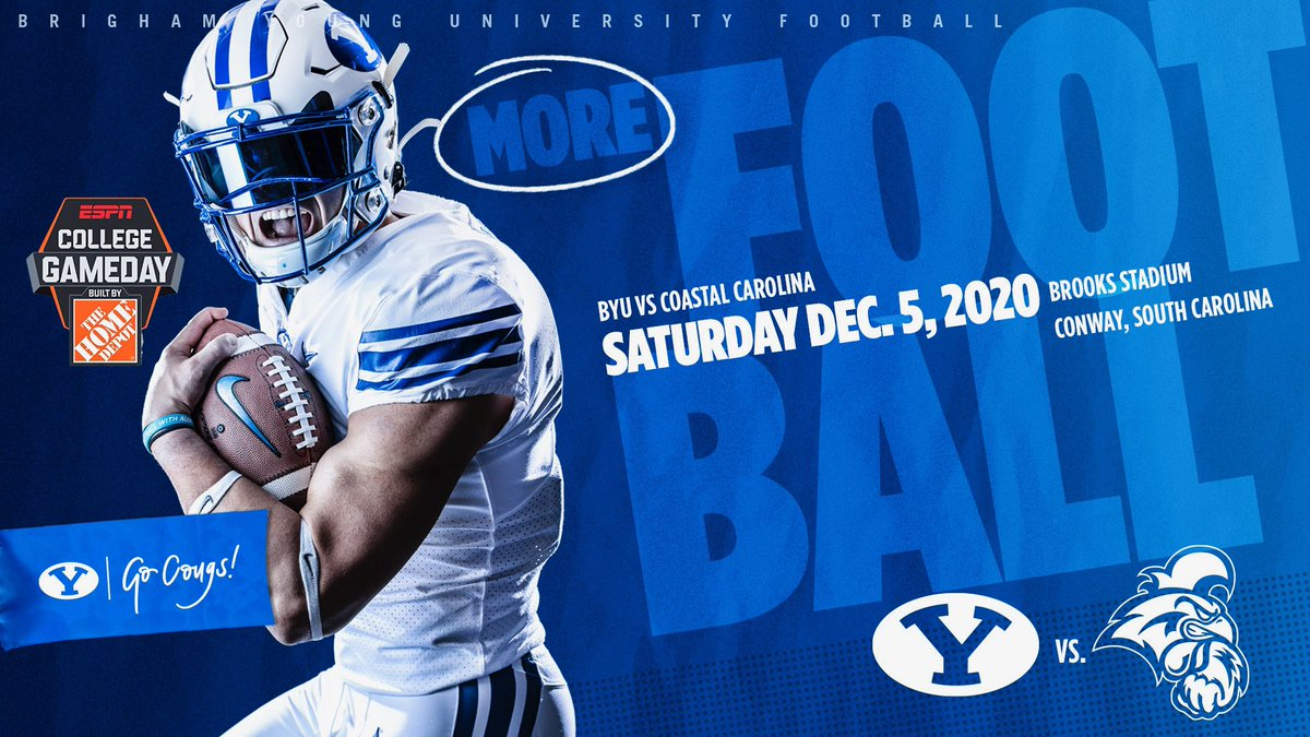 BYU and Coastal Carolina have announced a game on Dec. 5, 2020, atBrooks Stadium in Conway, South Carolina.  ESPN's College Gameday will be on site for the matchup, and the game will be broadcast at 5:30pm EST on ESPNU.  ➡️ https://t.co/hDhdJGN6Xw  #BYUFOOTBALL #GoCougs https://t.co/DB2Qg5jf3T