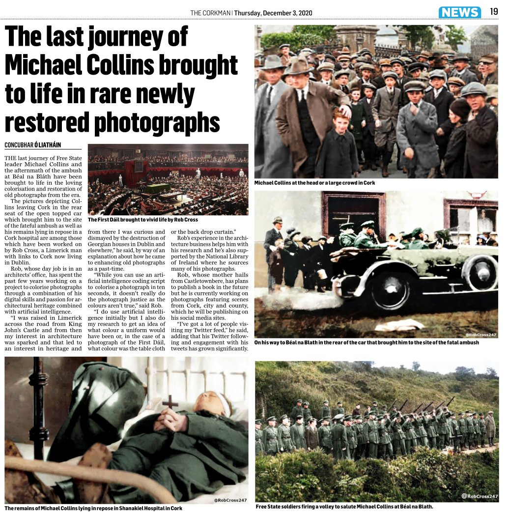 Bringing Michael Collin's History to Life. 🇮🇪 Delighted to see my 'Bringing #Ireland's #History to Life' work on Michael Collins and the First Dáil has made it into The Corkman newspaper. #Dublin #Cork #IrishWarofIndependence #decadeofcentenaries #michaelcollins #irishhistory https://t.co/GCz6Omflqm