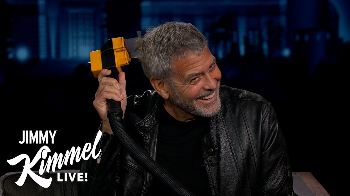 George Clooney teaches Jimmy how to cut his own hair… with a Flowbee!