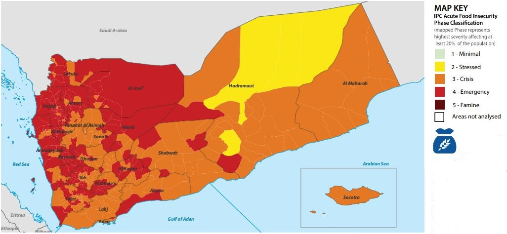"Hunger reaches record levels in #Yemen. ""Window to prevent famine is narrowing,"" UN agencies warn as a new #IPC analysis shows alarming food insecurity levels.  A joint press release by @FAOYemen, @WFPYemen, @UNICEF_Yemen:"