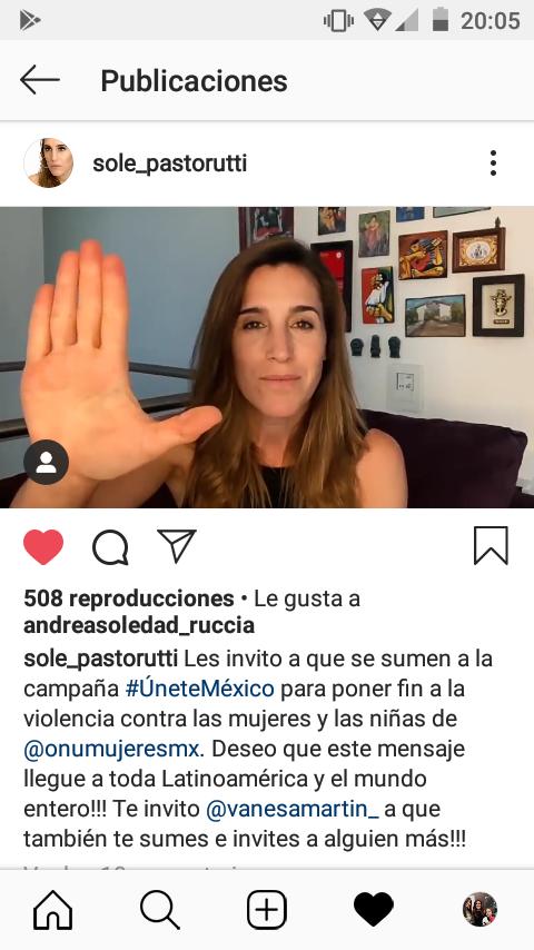 Vía Instagram @sole_pastorutti se suma a la Campaña #ÚneteMéxico  e invita a @vanesamartin_ y a nosotros a hacerlo también. Video ▶️
