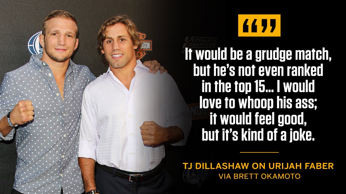 There's still bad blood, but Dillashaw isn't focused on Faber.   (via @bokamotoESPN)