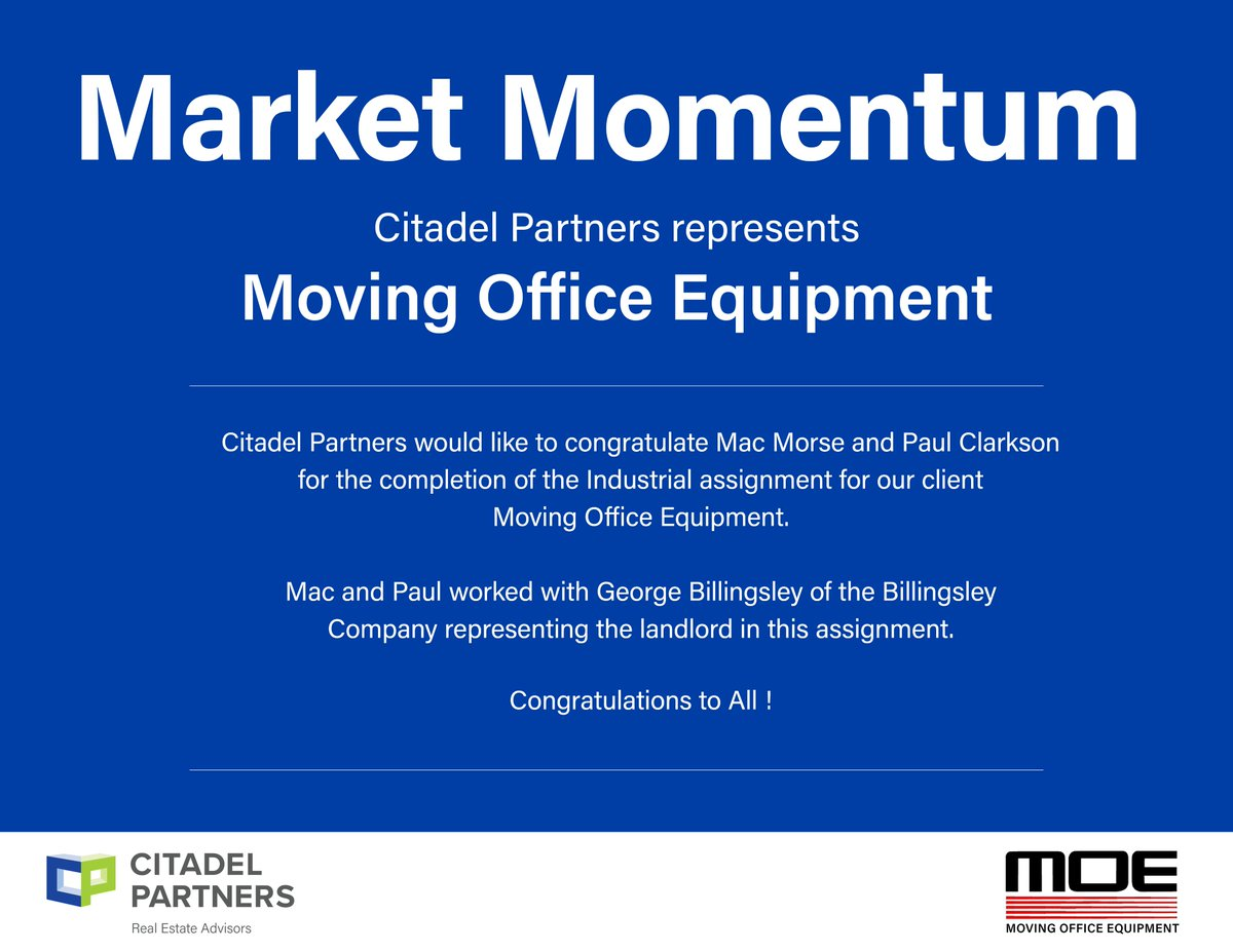 test Twitter Media - Congratulations to Mac Morse & Paul Clarkson who represented Moving Office Equipment on their Industrial Lease Transaction  #CitadelPartners #DallasCommericalRealEstate https://t.co/1PH4QTWowB