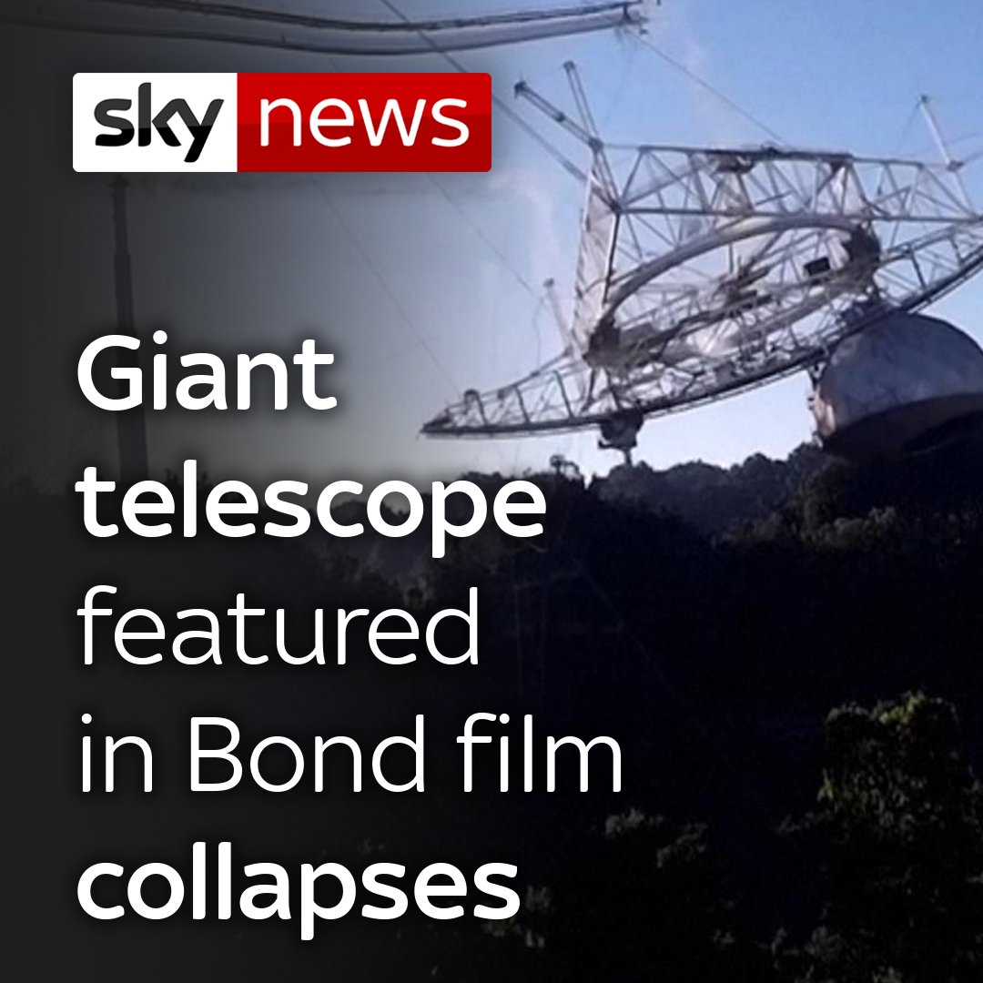One of the world's largest radio telescopes, used to monitor the stars for more than half a century, has collapsed.  The 57-year-old telescope at Puerto Rico's Arecibo Observatory famously featured in the Bond film GoldenEye.  Read more about this story: